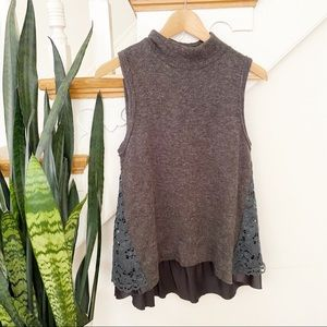 MOth anthro charcoal knit sleeveless top lace back